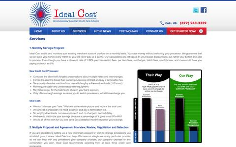 Screenshot of Services Page idealcost.com - Ideal Cost - Merchant Accounts at Less Fees, Reduce Fees and Save Money - captured Sept. 19, 2014