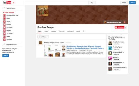 Screenshot of YouTube Page youtube.com - Bombay Bongo  - YouTube - captured Oct. 23, 2014