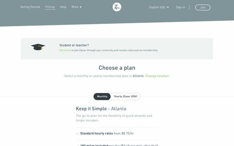Screenshot of Pricing Page zipcar.com - Car Sharing Rates & Plans | Zipcar - captured Dec. 12, 2018