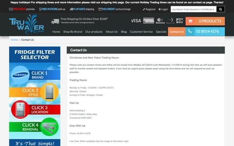 Screenshot of Contact Page truwater.com.au - Contact Us : Best House Water Filter Systems – Tru Water (Aust) - Get cleaner & healthier household water supply by ordering home water filters from Tru Water (Aust). Check out our range of water filter systems today. - captured Dec. 20, 2016