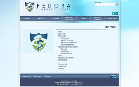 Screenshot of Site Map Page fedorapharma.com - Fedora Pharmaceuticals Inc.   Site Map - captured Feb. 9, 2016