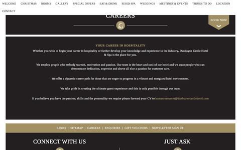 Screenshot of Jobs Page dunboynecastlehotel.com - Careers - captured Nov. 24, 2016