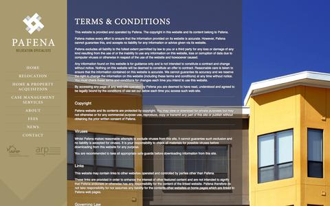 Screenshot of Terms Page pafena.com - Terms & Conditions » Pafena - captured Sept. 26, 2014