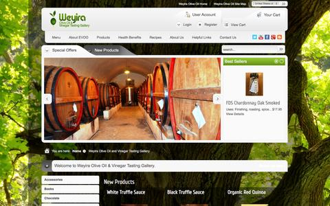 Screenshot of Menu Page weyiraoliveoil.com - Weyira Olive Oil and Vinegar Tasting Gallery - captured Oct. 9, 2014