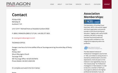 Screenshot of Contact Page paragonnz.com - Paragon NZ - Contact - captured Jan. 25, 2016