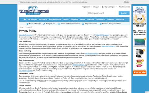 Screenshot of Privacy Page vakantieveilingen.nl - Privacy policy - captured Oct. 28, 2014