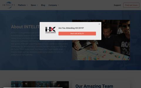 Screenshot of About Page intelity.com - Hospitality Technology Platform for Hotels & Casinos   INTELITY - captured Nov. 10, 2019