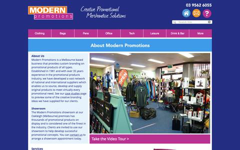 Screenshot of About Page modern.com.au - Modern Promotions - About Us - captured Dec. 20, 2018