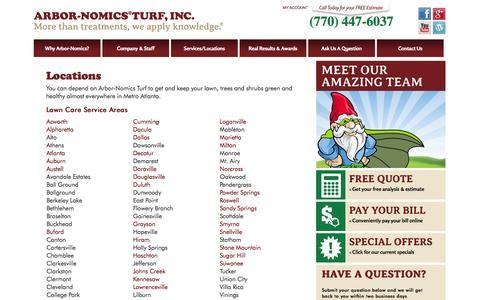 Screenshot of Locations Page arbor-nomics.com - Lawn Service Atlanta   Our Atlanta Locations   Arbor-Nomics - captured Oct. 4, 2014