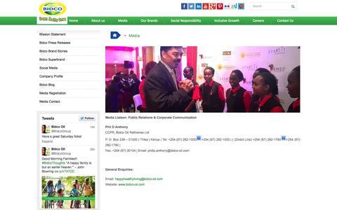 Screenshot of Press Page bidco-oil.com - Media | Bidco - captured Oct. 4, 2014