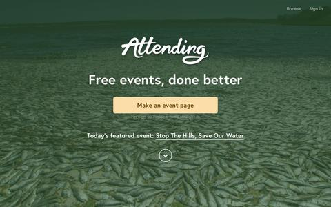 Screenshot of Home Page attending.io - Attending — Free events, done better - captured Dec. 1, 2015