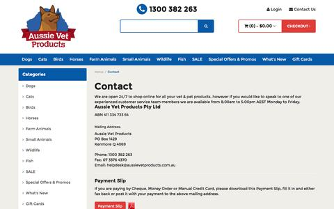 Screenshot of Contact Page aussievetproducts.com.au - Contact - captured Feb. 6, 2016