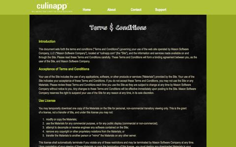 Screenshot of Terms Page culinapp.com - Terms &Conditions - captured Oct. 3, 2014