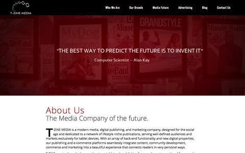 Screenshot of About Page tzinemedia.com - T-ZINE MEDIA |   About Us – Our Mission - captured Sept. 30, 2014