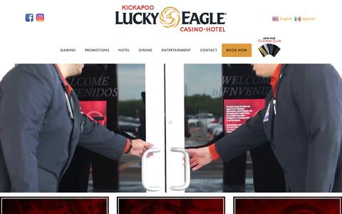 Screenshot of Home Page luckyeagletexas.com - Kickapoo Lucky Eagle Casino Hotel in Eagle Pass, Texas - captured Oct. 15, 2018