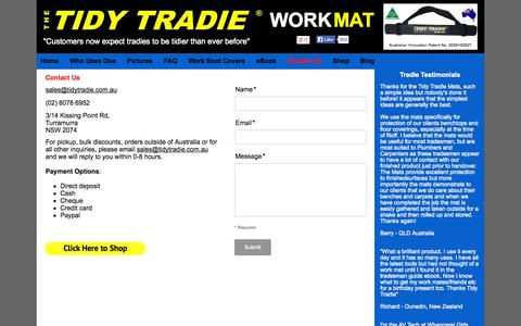 Screenshot of Contact Page tidytradie.com.au - Contact Us | The Tidy Tradie - Work Mat | The No.1 Tool Mat For Tradies - captured Oct. 6, 2014