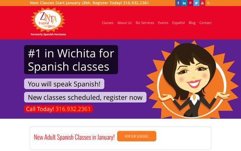 Screenshot of Home Page zintalanguage.com - Home - Zinta - Formerly Spanish Horizons - captured Jan. 22, 2015