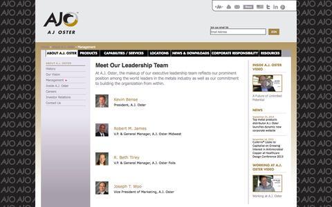 Screenshot of Team Page ajoster.com - Metal Service Center | Metals Supplier | Management Team - A.J. Oster - captured Oct. 29, 2014