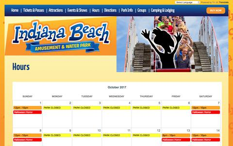Screenshot of Hours Page indianabeach.com - Hours | Indiana Beach - captured Oct. 30, 2017