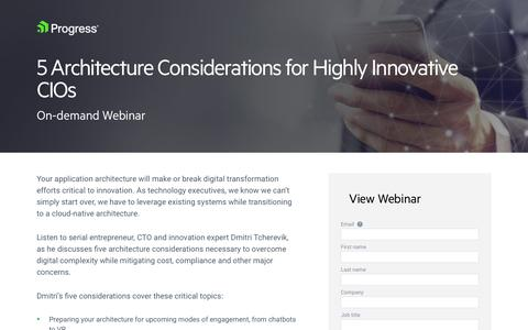 Screenshot of Landing Page progress.com - 5 Architecture Considerations for Highly Innovative CIOs - captured July 17, 2019
