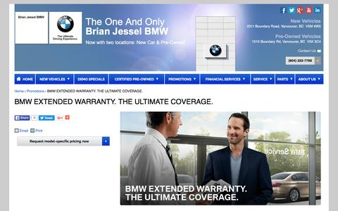 Screenshot of brianjesselbmw.com - BMW EXTENDED WARRANTY. THE ULTIMATE COVERAGE. | Brian Jessel BMW - captured March 30, 2016