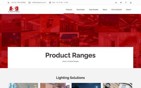 Screenshot of Products Page asdlighting.com - Product Ranges – ASD Lighting PLC - captured Aug. 4, 2018