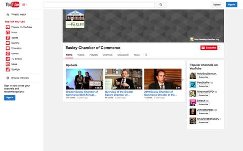 Screenshot of YouTube Page youtube.com - Easley Chamber of Commerce  - YouTube - captured Oct. 23, 2014