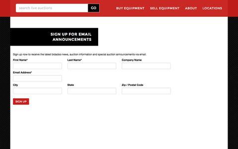 Screenshot of Signup Page bidadoo.com - Email Newsletter Sign Up | bidadoo Auctions - captured Oct. 11, 2017