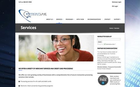 Screenshot of Services Page frontlineprocessing.com - Credit processing services and payment solutions- Frontline ProcessingFrontline Processing - captured Sept. 30, 2014