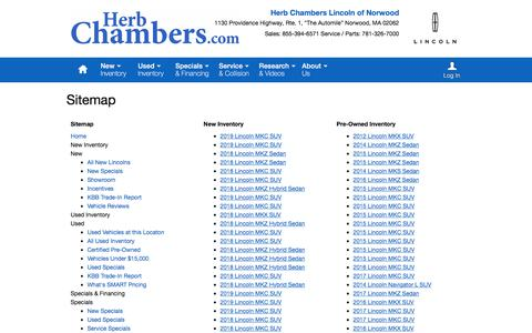 Screenshot of Site Map Page herbchamberslincoln.com - Herb Chambers Lincoln of Norwood   New Inventory for sale in Norwood, MA 02062 - captured July 3, 2018