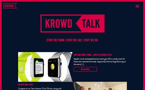 Screenshot of Blog krowdlondon.com - Krowd Talk - Stuff we think. Stuff we like. Stuff we do. - captured Oct. 3, 2014