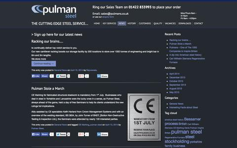 Screenshot of Press Page pulmans.co.uk - Latest news from Pulman Steel -  Steel Stockholders in Yorkshire & Lancashire - captured Oct. 4, 2014