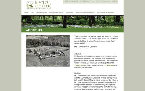 Screenshot of About Page mtcubacenter.org - About Us  |  Mt. Cuba Center - captured Oct. 9, 2014