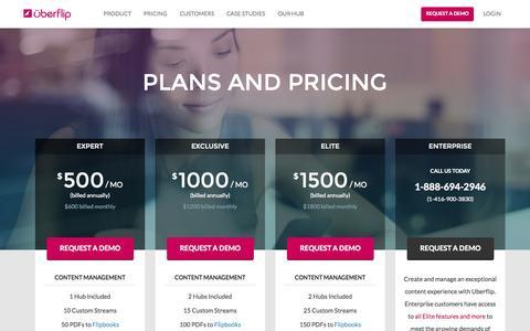 Screenshot of Pricing Page uberflip.com - Pricing | Uberflip - captured Oct. 2, 2015