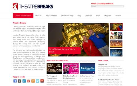 Screenshot of Home Page theatrebreaks.co.uk - London Theatre Breaks: ticket and hotel packages 2016/2017 - captured Nov. 13, 2016