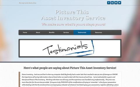 Screenshot of Testimonials Page picturethisinventory.com - Testimonials - Picture This Home Inventory Service - captured Oct. 2, 2014