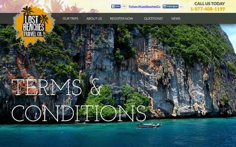 Screenshot of Terms Page lostbeachestravel.com - Terms & Conditions - Lost Beaches Travel Co | - captured Jan. 31, 2016