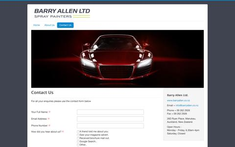 Screenshot of Contact Page barryallen.co.nz - Contact Us - captured June 16, 2016