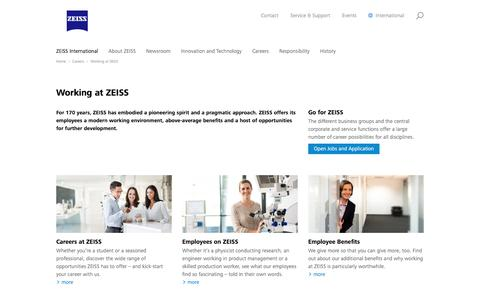Screenshot of Jobs Page zeiss.com - Working at ZEISS - captured July 25, 2017