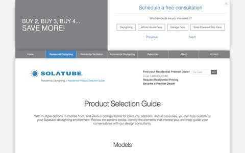 Screenshot of Products Page solatube.com - Residential Product Selection Guide   Solatube - captured June 12, 2019