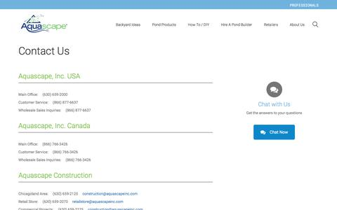 Screenshot of Contact Page aquascapeinc.com - Contact Us - captured Aug. 23, 2017