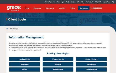Screenshot of Login Page grace.com.au - Existing Information Management & Mobility Clients Login Pages   Grace - captured Sept. 7, 2017