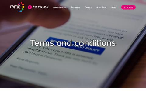 Screenshot of Terms Page remit.co.uk - Terms and conditions – Remit Group - captured Oct. 20, 2018