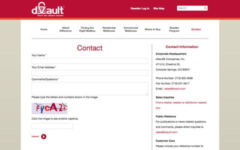 Screenshot of Contact Page dvault.com - dVault :: Contact - captured Oct. 5, 2014
