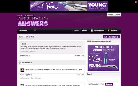 Screenshot of Hours Page dentalhygieneanswers.com - Dental Hygiene Answers | Hours - captured Nov. 2, 2014
