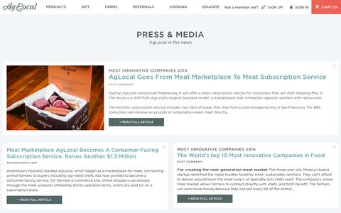 Screenshot of Press Page aglocal.com - Buy Pasture Raised Meats from Family Farms | AgLocal - captured Sept. 12, 2014