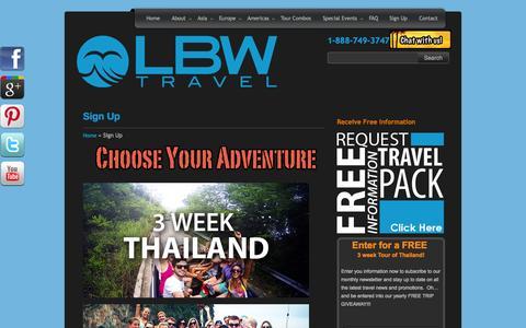 Screenshot of Signup Page lbwtravel.com - Sign Up  – - captured Sept. 23, 2014