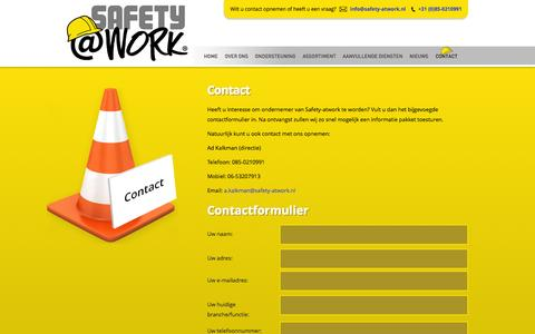 Screenshot of Contact Page safety-atwork.nl - Contact - Safety- atwork - captured Oct. 3, 2014