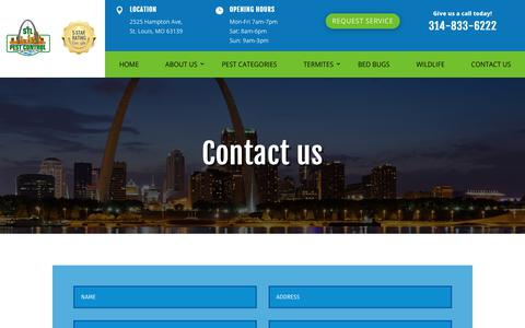Screenshot of Contact Page stlpestcontrol.com - contact-us   stlpestcontrol - captured Dec. 17, 2018