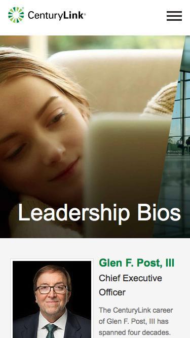 Screenshot of Team Page  centurylink.com - Leadership Bios
